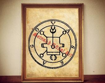 3 Vassago demon seal print, Goetia sigil poster, Lemegeton demon art, The Lesser Key, occult ritual pentacle, summoning demons canvas #104.3