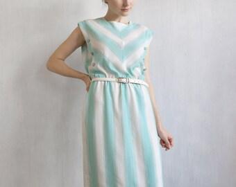 aqua striped dress / aqua and white dress / sleeveless dress / summer aqua dress / day dress / tea dress