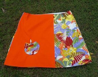 Size 14 Vintage Island Floral Print A-Line Skirt