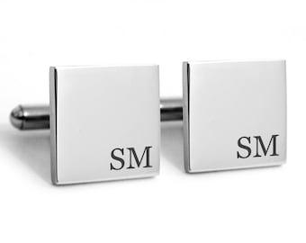 Stainless steel cuff links, engraved cufflinks, personalized metal cuff links, groom cuff links, custom initials