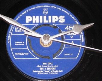 "The 4 Seasons rag doll 7"" vinyl record clock"