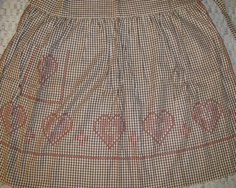 Vintage Brown Gingham Apron with Embroidery Hearts