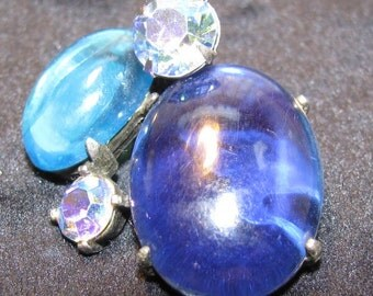 Vintage Cabachon Blues With Rhinestone Earrings
