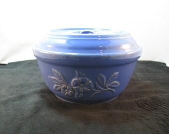 Blue floral embossed bowl with lid, Vintage