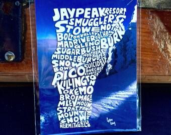 Hand Lettered Ski Vermont Ski Resort Print