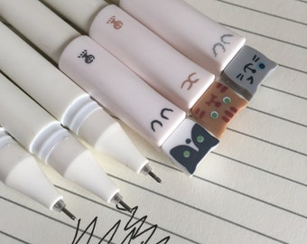 3 Kawaii Gel Pens 0.38mm Tip Kitty Cat Black Ink Fineliners, Kawaii stationery, Planner Journal Pens