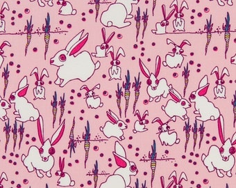 Jay McCarroll OOP Fabric for Free Spirit - Garden Friends Collection - Funny Bunnies JY01 in Pink - One Yard