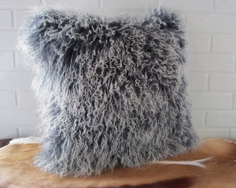 New Tibet Mongolian lamb fur pillow grey with white tips  free shipping in Canada and USA