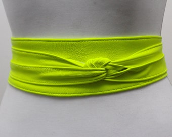 Neon Yellow  Soft Leather Obi Belt | Waist Obi Belt | Leather tie belt | Real Leather Belt | Plus size belts| Obi Sash Belt