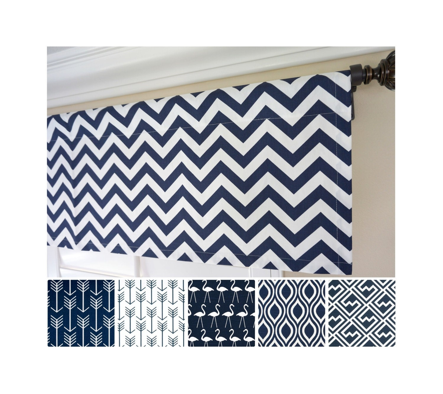 Blue Green Kitchen Curtains: Navy Blue Valance Curtain.Kitchen Valance Curtains.Navy