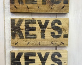 Reclaimed Wood Key Hooks Hang Rustic Farmhouse Reclaimed Nails