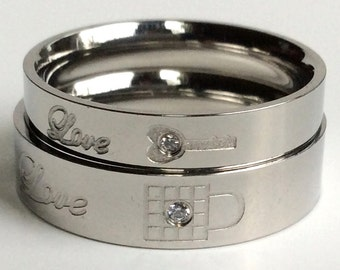 His and Her Rings, Lock and Key Ring, Custom Ring, Personalized Ring, Titanium Ring, Couples Ring, Couple Ring, Couples Rings, Couple Rings