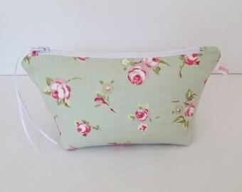 Sage Rosebud Make Up Bag, Cosmetic Bag, Floral Pouch