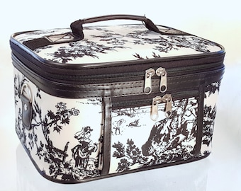 Black and White Toile Canvas Cosmetics Travel or Storage Case