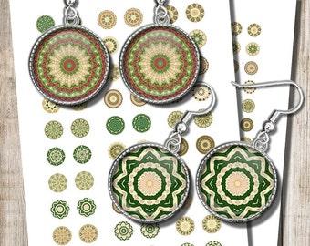 Printable Green Mandala Images, 18 mm, 15 mm, 12 mm Circles, Digital Collage Sheet, Kaleidoscope Jewelry Earrings, Instant Download, b6