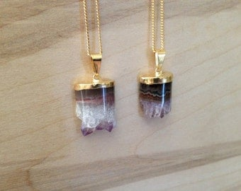 Gold Dipped Amethyst Half Cylinder Necklaces {Gold Plated Chain}