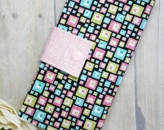 Geometric squares womens wallet, clutch wallet, fabric wallet, handmade wallet, bifold wallet, credit card wallet, checkbook wallet