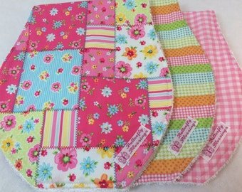 Burp Cloths - Set of 3 very soft cotton burp clothes. Terry Cloth on the back for super absorbancy