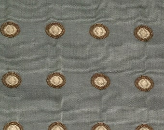 Aqua Blue, Brown, and Cream Dots - Upholstery Fabric by the Yard