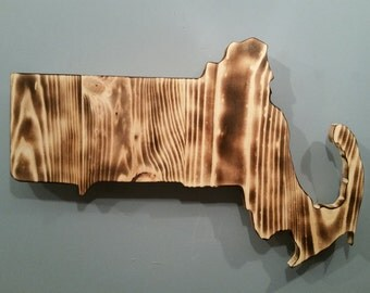 Rustic Massachusetts Wall Decor / add an engraved heart to your location