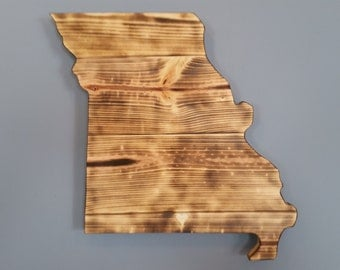 Rustic Missouri State Sign/Plaque, Add a heart to your location, Rustic Home Decor