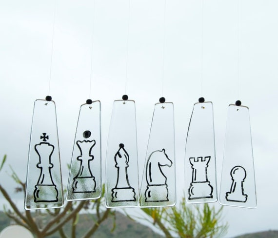 Chess wind chimes - Glass - Wind bell - Wall hanging - Chess pieces - King, Queen, Bishop, Knight, Rook, Pawn - Gift for him - Ready To Ship