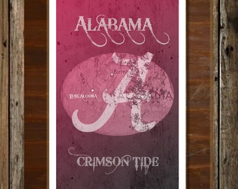 Alabama Crimson Tide Map Topographical Sports Print Art 11x17