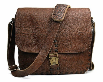 Distressed Leather Crossbody Bag, Vintage Brown Messenger Bag, Shoulder Satchel, 1W502
