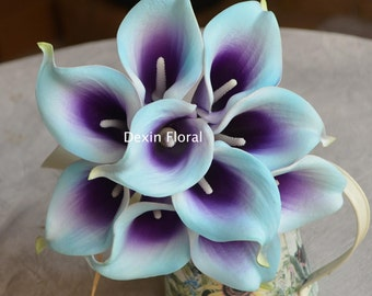 10 Light Aqua Blue Purple Picasso Calla Lilies Real Touch Flowers For Silk Wedding Bouquets, Centerpieces, Wedding Decorations