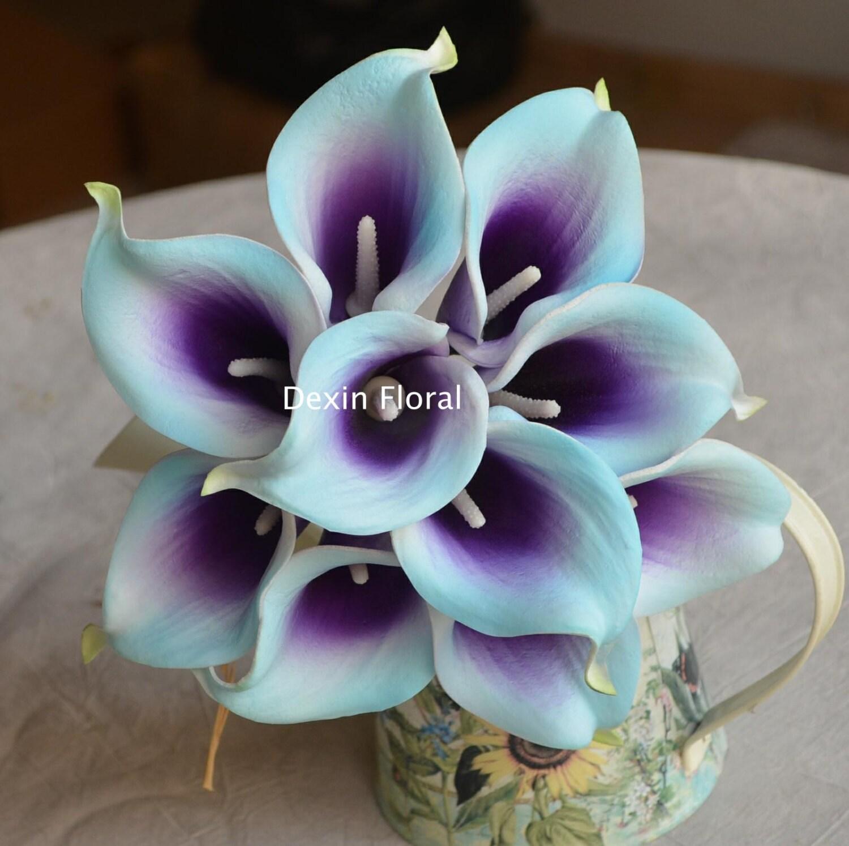 18 light aqua blue purple picasso calla lilies real touch. Black Bedroom Furniture Sets. Home Design Ideas