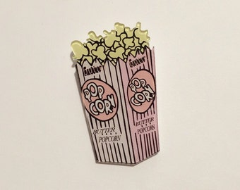 Food deco pink sweet butter salt popcorn saturday movie night  brooch pin