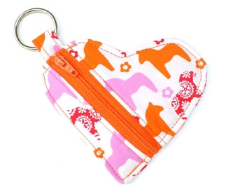 Dala Horse Keyring Pouch, Ear Buds Zipper Pouch, Orange Pink Lipstick Holder, Dala Horse Coin Purse, Small Change Purse, Love Heart Pouch