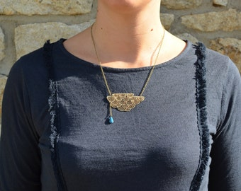 Necklace gold plated cloud and raindrop glazed
