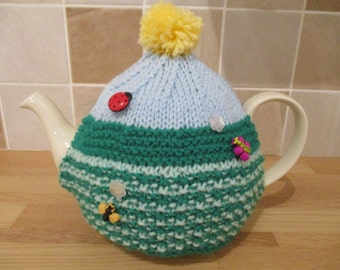 Hand Knitted Spring Garden Tea Cosy c/w ladybirds/flowers/bees