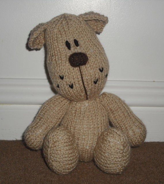 Knitting Patterns For Stuffed Dogs : Hand Knitted Puppy Dog Stuffed Toy Made from an Amanda Berry