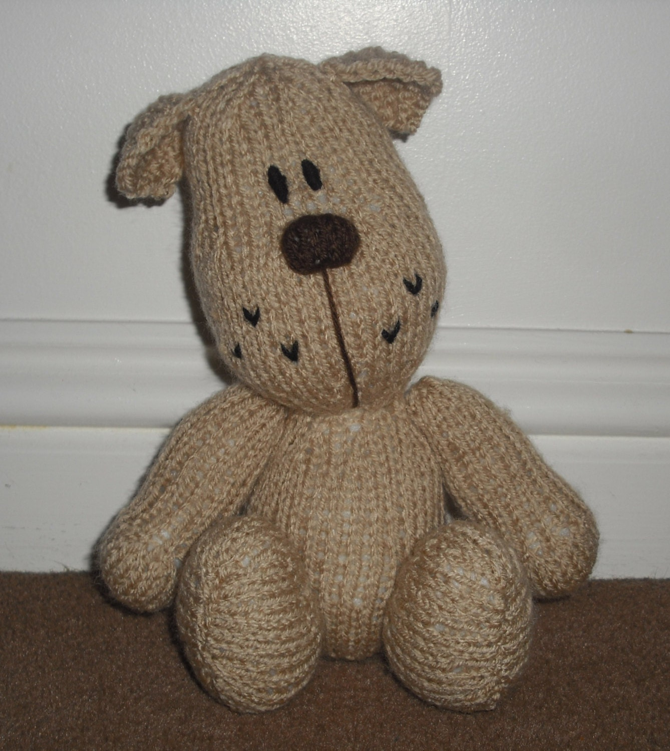 Hand Knitted Puppy Dog Stuffed Toy Made from an Amanda Berry