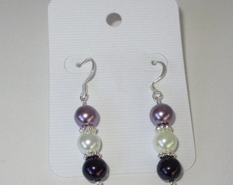 Dark Lilac, White and Purple Pearl Earrings