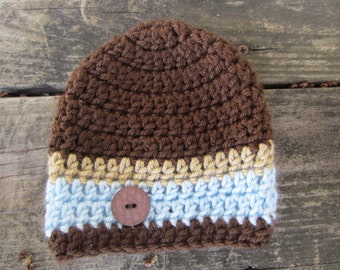Crochet Striped Beanie with a button