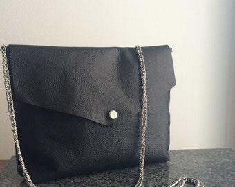 Black soft leather crossbody shoulder bag evening clutch