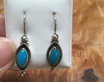 Sterling silver and blue stone earrings
