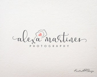 Camera logo, Photography watermak, Heart logo, Hand-drawn logo design, Logo watermark 376