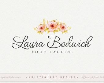 Watercolor roses logo, Wedding photography logo, Flowers logo, Vintage logo, Roses logo design 465