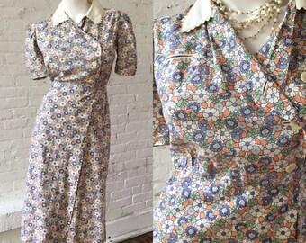1940s Floral Wrap House Dress