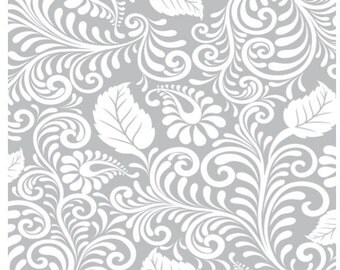 ON SALE Today - Moonflower Gray Filigree Print Fabric - Denise Urban - Quilting Treasures  -  Designer Fabric By the Half Yard