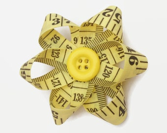 Upcycled Tape Measure Yellow Daisy Flower Hair Clip, Unique Hair Accessory