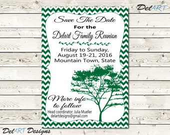 Family Reunion Save The Date, or invitations, Chevron background, Tree, Printable Digital File, JPG or PDF