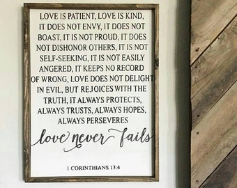 Love is Patient, Love is Kind. Corinthians Verse. Wedding Gift. Wood Signs. Rustic Signs. Wooden Sign. Gift under 100. Farmhouse Decor.