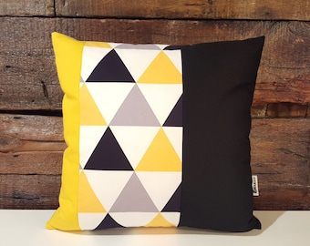 Triangles yellow gray black and white . pillow cover . handmade . modern decor