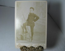 Antique 1800's Victorian Cabinet Card, Boy with Rifle, Boy posed with Gun, St Paul MINN antique photograph, cab card