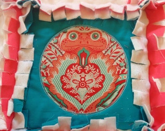 Baby Rag quilt, Tula pink prince charming baby Quilt, Toddler size rag quilt, Minky Rag quilt, Coral rag quilt, Teal rag quilt.